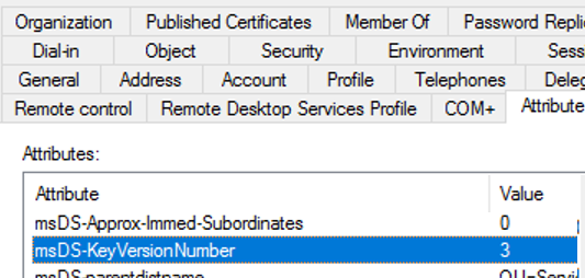 msDS-KeyVersionNumber active directory user attribute
