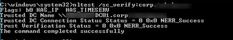 nltest - check Trusted DC Connection Status