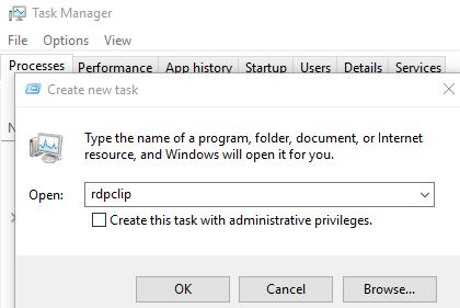 re-run the rdpclip.exe process on windows