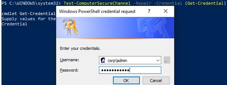 Repair the domain trust relationship with Test-ComputerSecureChannel PowerShell cmdlet