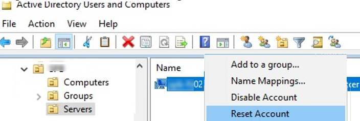 reset computer account in active directory using ADUC