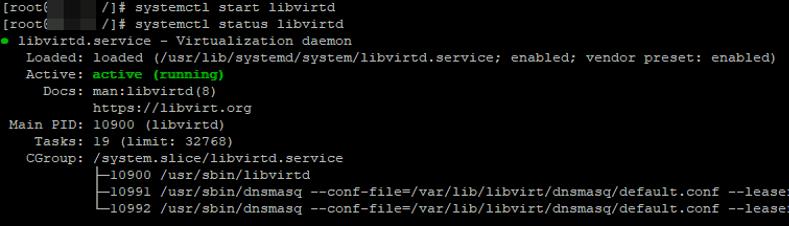 run libvirtd kvm daemon on linux centos and rhel