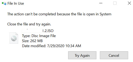 The action can't be completed because the file is open in SYSTEM