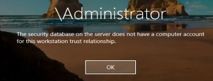 The security database on the server does not have a computer account for this workstation trust relationship.