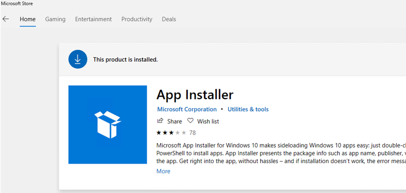 WinGet (App Installer) on Microsoft Store