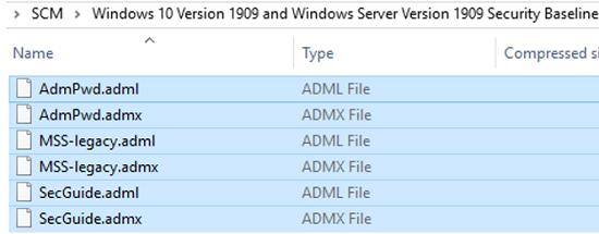 admx GPO templates in Microsoft Security Baseline