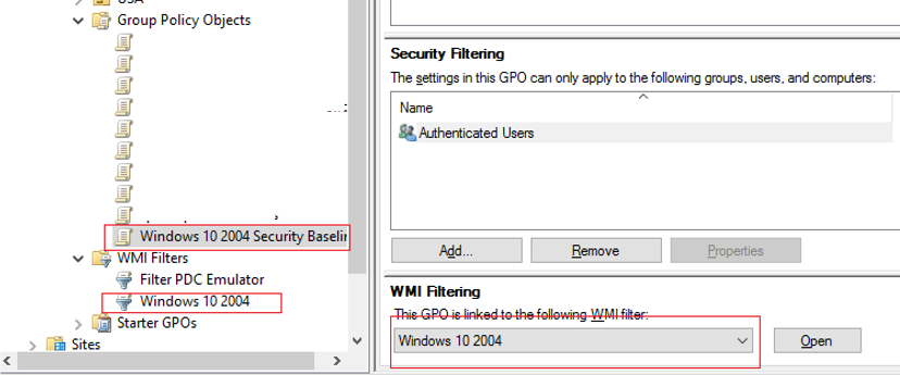 apply GPO filter to Windows Security Baseline