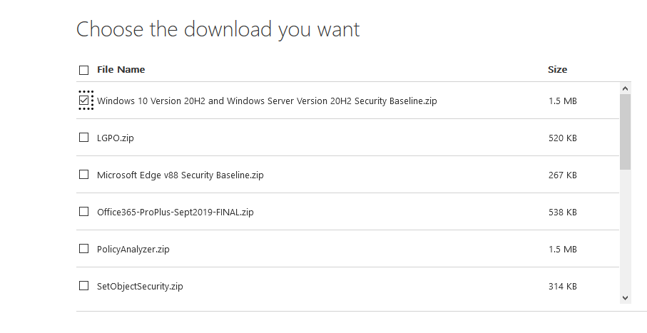 download Microsoft Security Baseline gpo templates