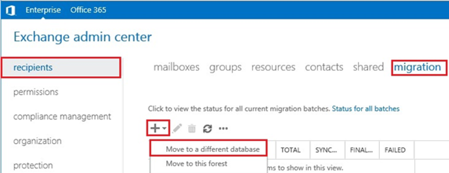 exchange admin center - move mailbox to a different database