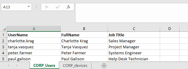 how to access a sample excel file with user info from powershell