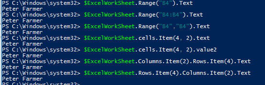 How to get excel data from a single cell in PowerShell