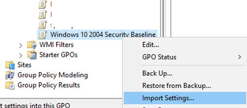 import Microsoft Security Baseline settings to GPO