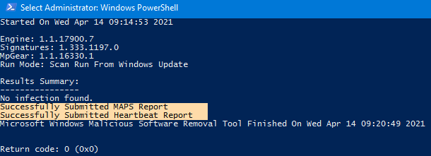 Malicious Software Removal Tool log - Successfully Submitted Heartbeat Report