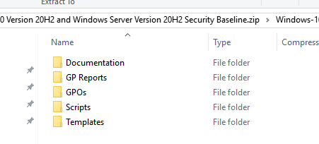 Microsoft Security Baseline archives for various builds of Windows 10 and Windows Server