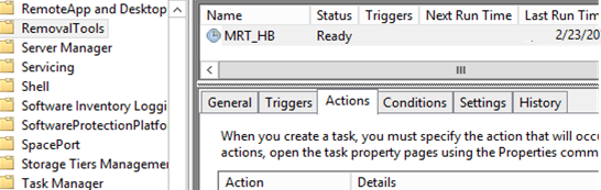 MRT_HB task in Task Sheduler to scan the computer for malware