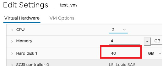 new size of the virtual disk is now displayed in the vmware VM properties