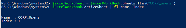 select active worksheet in excel with powershell