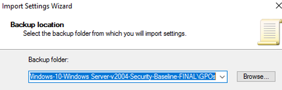select Security Baseline folder