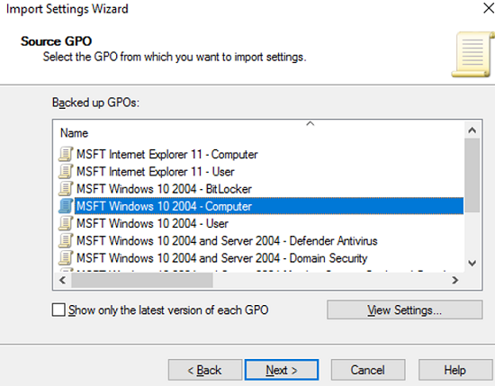select the reference Security Baseline GPO to import into Active Directory