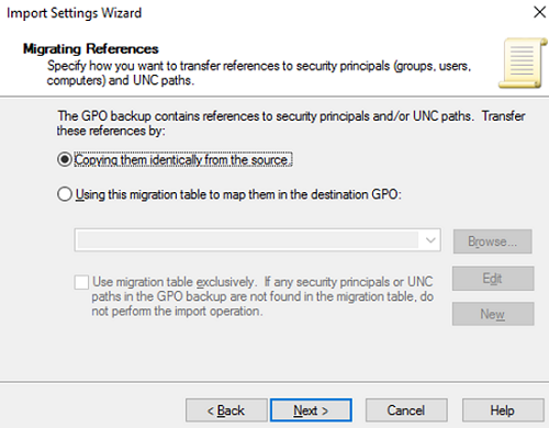 select the way to migrate references to GPO