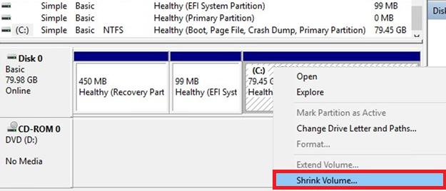 shrink volume in Windows