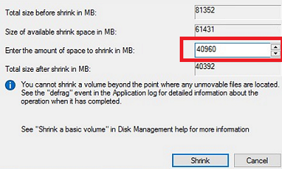 specify the amount of space to shrink in MB