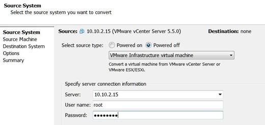 vmware converter connect vcenter
