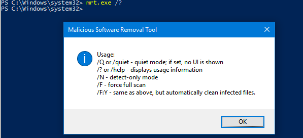 Windows Malicious Software Removal Too command line options