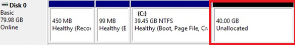 windows partition unallocated space
