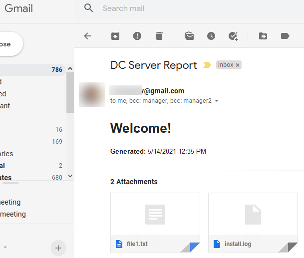 a test email with an attachment generated with PowerShell in the Gmail interface