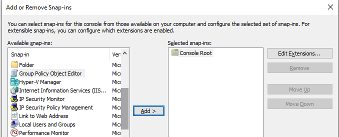 add Group Policy Object Editor snap-in