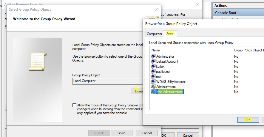 Apply Group Policy to All Users Except Administrator on Windows 10