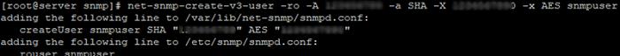 create snmpv3 user