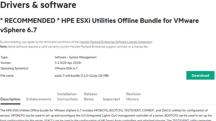 Download and istall HPE ESXi Utilities Offline Bundle for VMWare vSphere