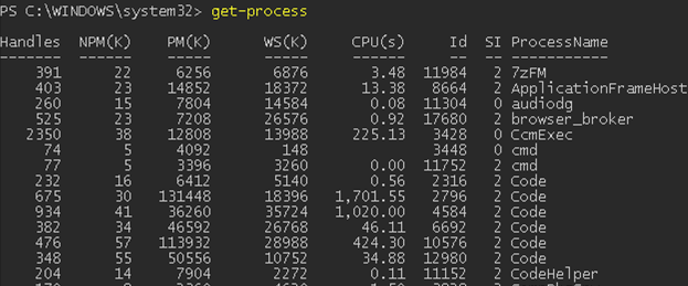 How to find running processes with Get-Process PowerShell cmdlet?