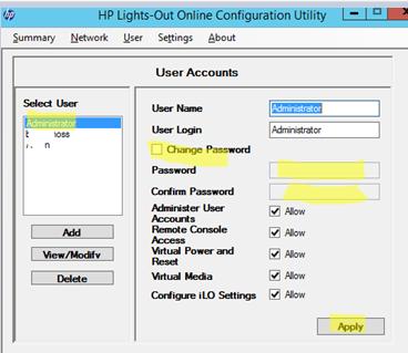 Lights-Out Online Configuration Utility - change admin password