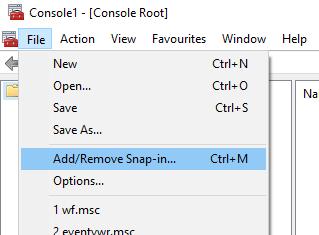 mmc add/remove snap-in