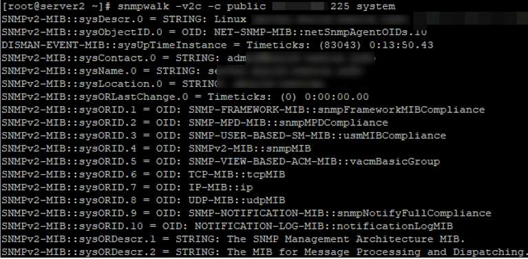 polling the snmp agent using the snmpwalk tool