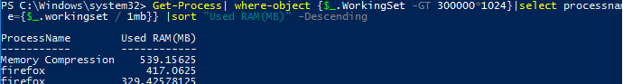 powershell: find top running processes by highest memory usage