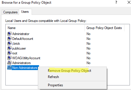 remove group policy object from local gpo