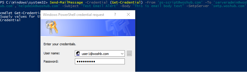 Send Authenticated SMTP with PowerShell Send-MailMessage
