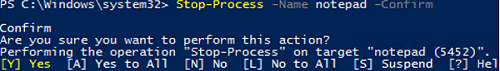 Stop-Process: how to confirm before stopping the process in PowerShell?