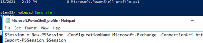 using powershell profile to connect to remote exchange session
