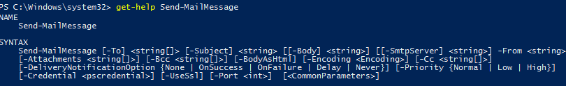 Using the PowerShell Send-MailMessage cmdlet