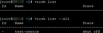 virsh list virtual machines on kvm host