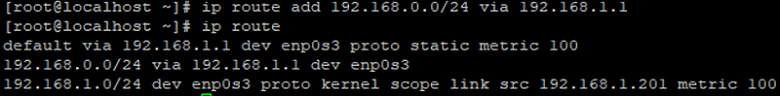 ip rout add static route on Linux