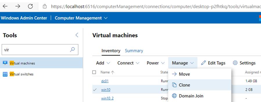 cloning hyper-v virtual machine in Windows Admin Center v2009