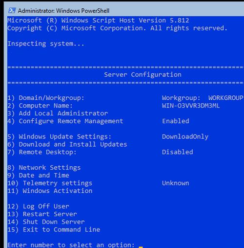 Configure Server Using Sconfig tool on Windows Server Core 2019