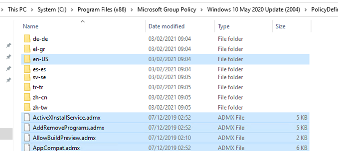 copy admx files to PolicyDefinitions on active directory domain controllers