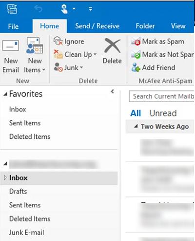 default folder names in outlook